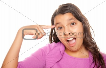 Pretty Hispanic Girl Pointing to Her Head Portrait Isolated on a White Background.