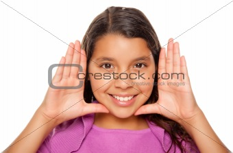 Pretty Hispanic Girl Framing Her Face with Hands Portrait Isolated on a White Background.