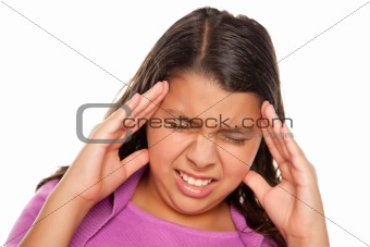 Pretty Hispanic Girl with Headache Isolated on a White Background.