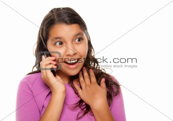 Shocked Pretty Hispanic Girl On Cell Phone Isolated on a White Background.