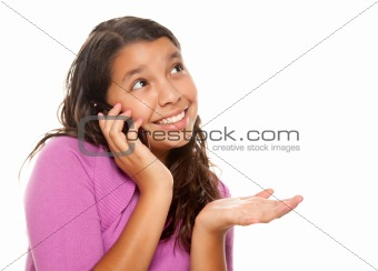 Happy Pretty Hispanic Girl On Cell Phone Isolated on a White Background.