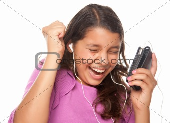 Pretty Hispanic Girl Listening and Dancing to Music Isolated on a White Background.