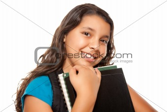 Pretty Hispanic Girl with Books and Backpack Ready for School Isolated on a White Background.