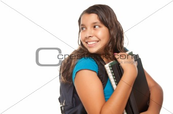 Pretty Hispanic Girl Looking Back with Books and Backpack Ready for School Isolated on a White Background.