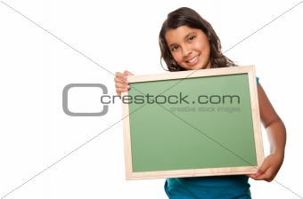 Pretty Hispanic Girl Holding Blank Chalkboard Isolated on a White Background.