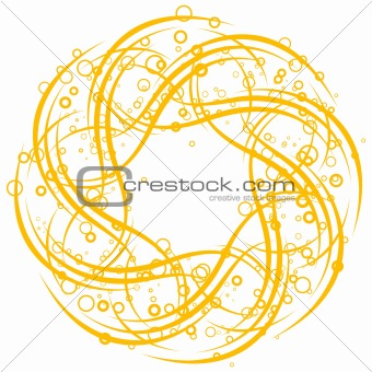 abstract background with circles and scrolls, vector illustratio