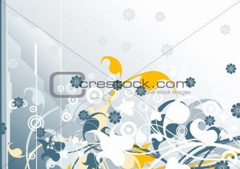 abstract horizontal modern background with floral elements, vect