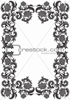 abstract decorative ornamental frame with flower, vector illustr