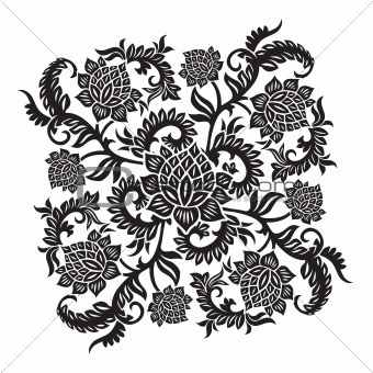 abstract decorative ornament with flower, vector illustration