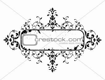 old grunge frame with floral decoration, vector illustration