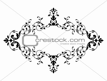 black frame with floral decoration, vector illustration