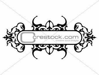 black frame with floral decoration, vector illustration