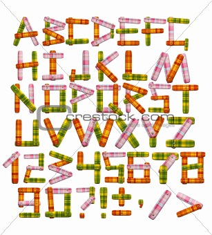 Alphabet - letters from a bright fabric
