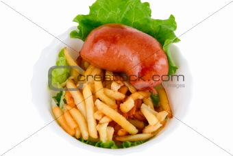sausages and French fried potatoes