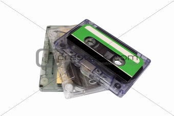 Three Compact Cassette isolated on white.