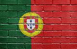 Flag of Portugal on brick wall