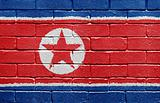 Flag of North Korea on brick wall