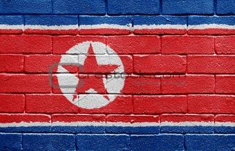 Flag of North Korea on brick wall