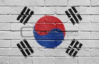 Flag of South Korea on brick wall