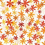 Seamless flower retro pattern in bright autumn colors
