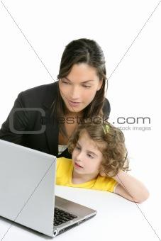 Beautiful mother and daughter laptop computer
