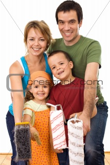 Happy family ready to paint