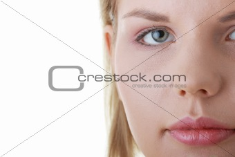Casual young woman face close up