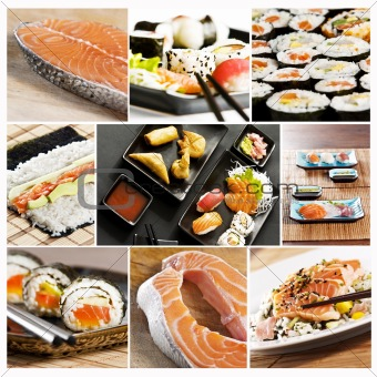 Image 1971830 sushi collage from crestock stock photos for Sashimi fish crossword