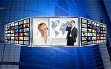 Three screen monitor, business world tech