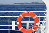 Cruise white boat handrail detail in blue sea