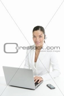 Beautiful businesswoman with headset