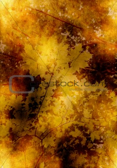 old yellow paper background with leaves