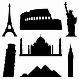 Set of 7 silhouettes of world's famous places.