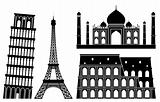Illustrations of world&#39;s famous places (set 1).