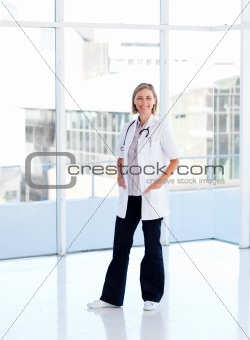 Mature female doctor isolated in hospital