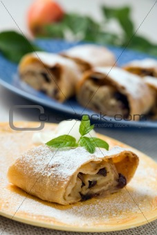Apple strudel with vanilla ice cream