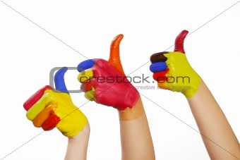 3 colorfull hands
