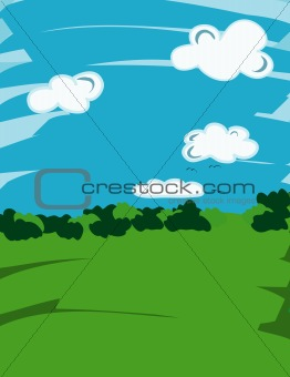 Green nature and blue sky with clouds
