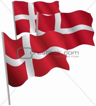 Kingdom of Denmark 3d flag.