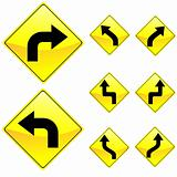 Eight Diamond Shape Yellow Road Signs