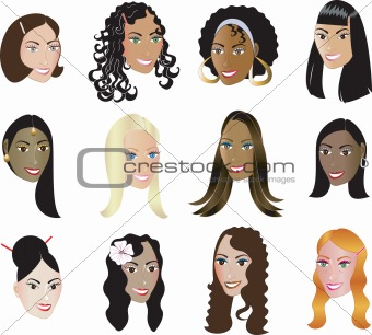 12 Women Faces Diversity