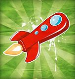 vector illustration of flying the red rocket