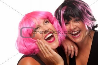 Portrait of Two Pink And Black Haired Smiling Girls Isolated on a White Background.