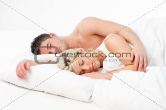 Boy sleeping with his grilfriend in bed