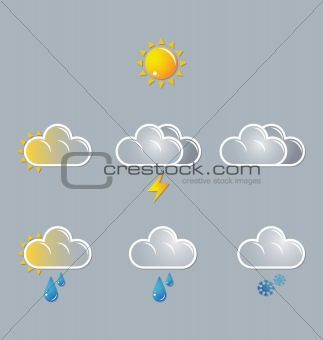 weather vector icons, moon, sun, cloud