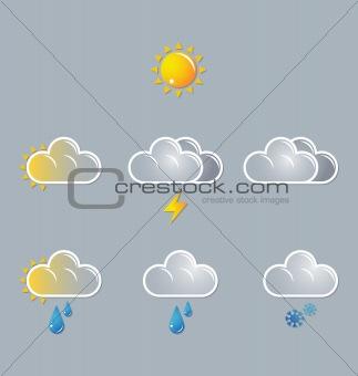 weather vector icons, moon, sun, cloud