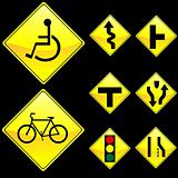 Eight Diamond Shape Yellow Road Signs Set 3