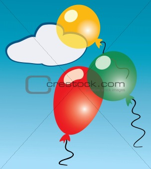 Three cartoon balloons.