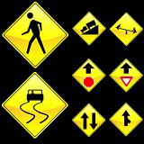 Eight Diamond Shape Yellow Road Signs Set 4