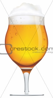 Cup of beer isolated on a white background.